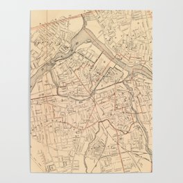 Vintage Map of Lowell MA (1904) Poster