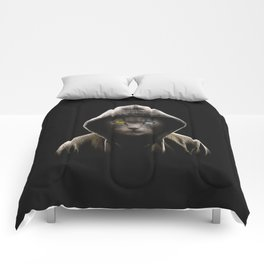Cool Black Cat Hooded Pullover Comforters