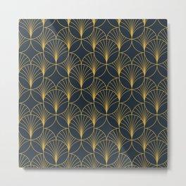 Golden Art Deco Moon Rays Metal Print