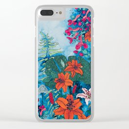Blue Jungle of Orange Lily and Pink Trumpet Vine Floral Clear iPhone Case