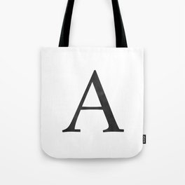 Letter A Initial Monogram Black and White Tote Bag