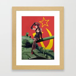 """Sovietsky by Land"" - The Playful Pinup - Russian Tank Pin-up Girl by Maxwell H. Johnson Framed Art Print"