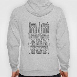 Notre Dame facade illustration. Hoody