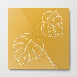 Monstera minimal - yellow Metal Print
