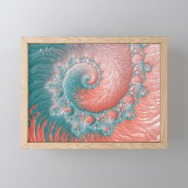 Living Coral Teal Blue Spiral Swirl Pattern Abstract Coral Reef Fractal Framed Mini Art Print