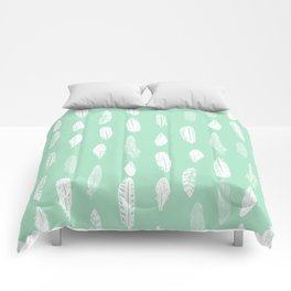 Feathers pattern minimal mint and white feather pattern trendy boho gifts for nursery decor Comforters
