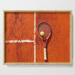 Tennis racket with ball on tennis court Serving Tray