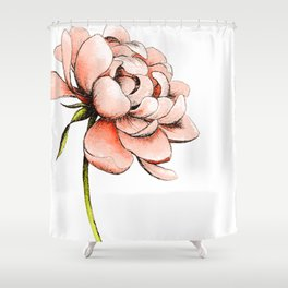 Coral Pink Peony Shower Curtain