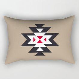 Navajo Aztec Pattern Black White Red on Light Brown Rectangular Pillow