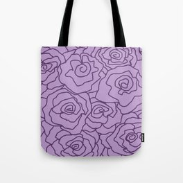 Lavender Dreams Roses - Light with Dark Outline - Color Therapy Tote Bag