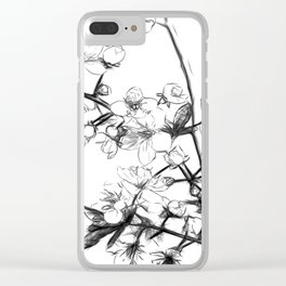 Cherry Blossoms Minimal Drawing Clear iPhone Case
