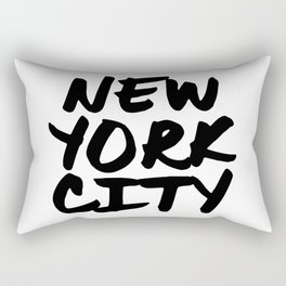 'New York City' NYC Hand Letter Type Word Black & White Rectangular Pillow