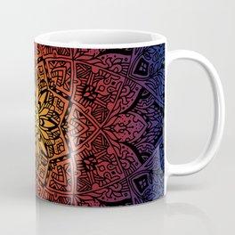 Floral Mandala blue purple red orange gradient Coffee Mug