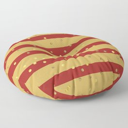 Christmas Golden confetti on Gold and Red Stripes Floor Pillow
