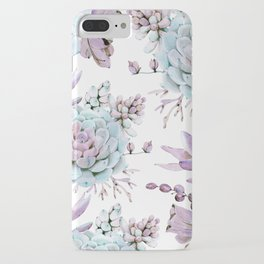 Turquoise and Violet Succulents iPhone Case