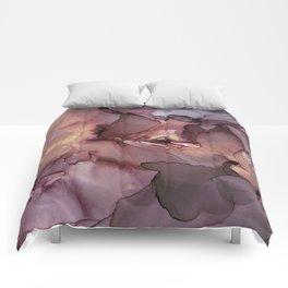 Ink Swirls Painting Lavender Plum Gold Flow Comforters
