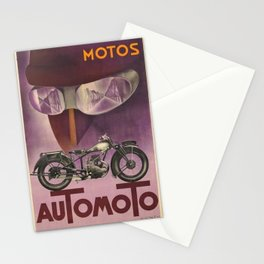 1930 Vintage Art Deco Advertising Poster Automoto Motos Bicycles Motorcycles Version 2 Stationery Cards