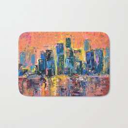 Pink Sky - abstract painting New York city skyline at sunset impressionism acrylic Bath Mat
