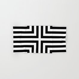 Simple Geometric Cross Pattern - White on Black - Mix & Match with Simplicity of life Hand & Bath Towel