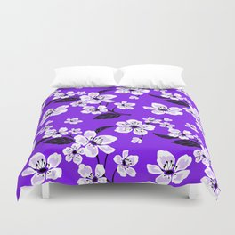 Light Purple & White Sakura Cherry Tree Flower Blooms on Dark Purple - Aloha Hawaiian Floral Pattern Duvet Cover
