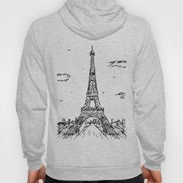 Paris Eiffel Tower Drawing Hoody