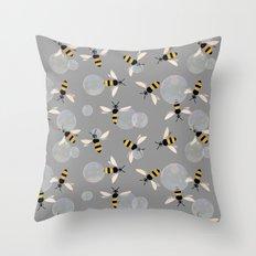Bubble Bees Throw Pillow
