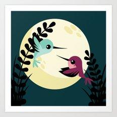 Moonlit Hummingbirds Art Print
