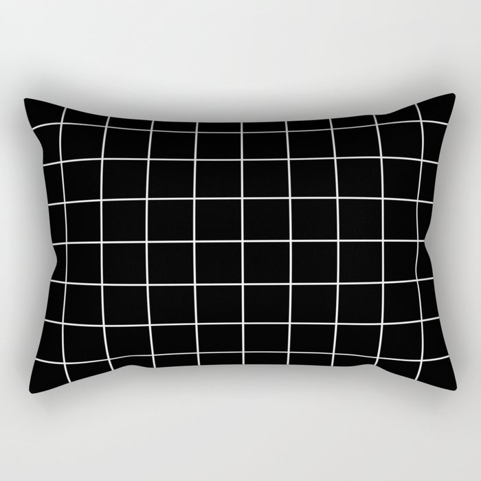 Grid Simple Line Black Minimalist Rectangular Pillow