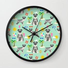 Schnauzer dog breed summer tropical dog pattern gifts schnauzers Wall Clock