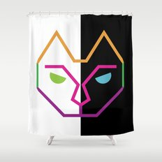 Abstract Multicolored Cat Shower Curtain