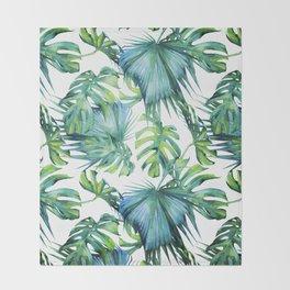Blue Jungle Leaves, Monstera, Palm #society6 Throw Blanket