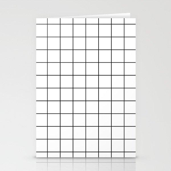 Grid Simple Line White Minimalist Stationery Cards