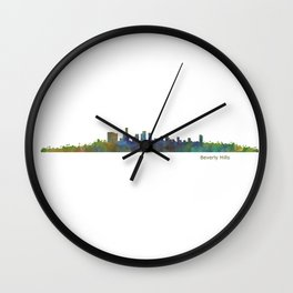 Beverly Hills City in LA City Skyline HQ v1 Wall Clock