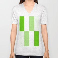 Green and White Gradient Blocks Unisex V-Neck