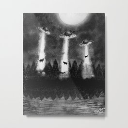 Flying saucers and cows Metal Print