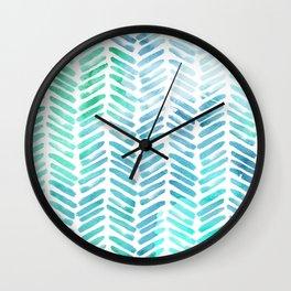 Handpainted Chevron pattern - light green and aqua - stripes Wall Clock