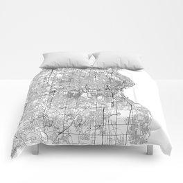 Milwaukee White Map Comforters