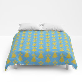 French Country Blue and Gold Ermine Spots Patterned Print Comforters