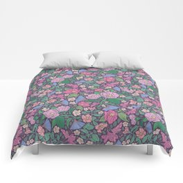 Winter roses with azalea and blue fans on dark background Comforters