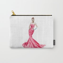 Sabrina / Hepburn Fuschia Pink Red | Fashion Gown Dress Carry-All Pouch