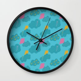 kites - blue Wall Clock