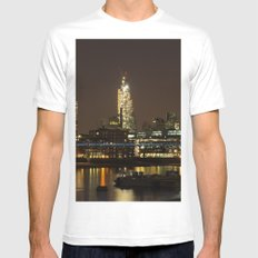 London by Night White Mens Fitted Tee MEDIUM
