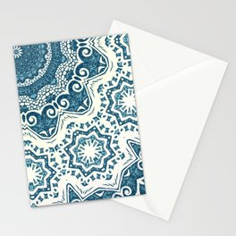 Creamy and blue mandala pattern#4 Stationery Cards