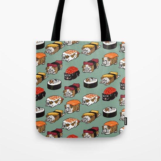 Sushi English Bulldog Tote Bag