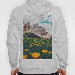 Beautiful Mountain Valley Landscape With Yellow Tulip Flowers Hoody