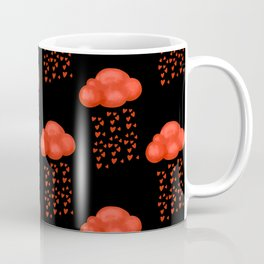 Watercolor Cloud Rain Of Red Heart Valentines Day  Coffee Mug