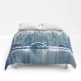 Winter's Cottage (Color) Comforters