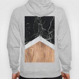 Arrows - Black Granite, White Marble & Wood #366 Hoody