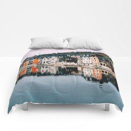 VILLAGE - HOUSE - RIVER - REFLECTION - PHOTOGRAPHY Comforters