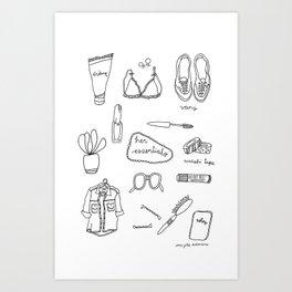 Her essentials Art Print